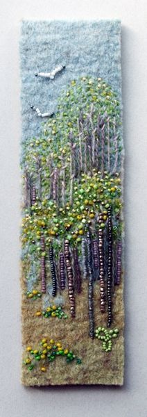 Signs of Spring 4 by Jo Wood felt,bead and embroidery picture or book mark design - love her stuff (H) Beaded Embroidery, Embroidery Stitches, Hand Embroidery, Embroidery Designs, Felt Pictures, Art Diy, Art Textile, Landscape Quilts, Felt Art