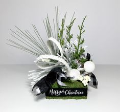 Black White Christmas Arrangement, Whimsical Small Table Decoration, Flocked Evergreen Centerpiece Decoration, Unique Xmas New Novelty Gift