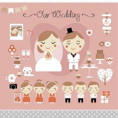 Cartoon Style Wedding Elements Vector Pack - http://www.dawnbrushes.com/cartoon-style-wedding-elements-vector-pack/