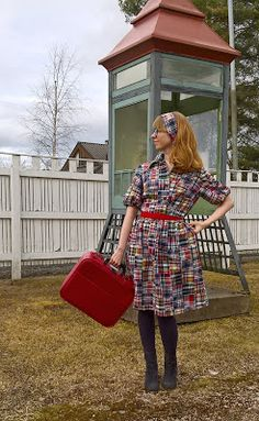 This is inspired by the plaid dresses worn by my grandmas in and my mom in and Though I went to the Granny-takes-a-trip direction and used cray quilt fabric and my Simplicity 9723 pattern from Plaid Dress, Vintage Sewing, My Mom, Take That, Challenge Group, 1930s, Fabric, Pattern, Quilt
