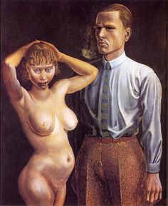 Self-portrait with Nude Model, 1923 by Otto Dix (German 1891-1969)