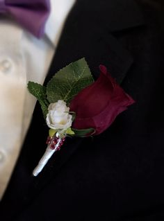 Angel Isabella Boutonniere - Burgundy Rosebud with Mini White Flower, White Stem Burgundy Wedding, Floral Wedding, Fall Wedding, Our Wedding, Dream Wedding, Wedding Ideas, Wedding Stuff, Maroon Wedding, Wedding Designs