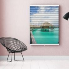 Photo-Store Plissé Tropique cabanes sur l'eau  EN DIFFÉRENTES DIMENSIONS, SEMI-TRANSPARENT, GRAND GAIN DE PLACE