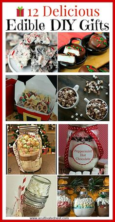 12 Delicious Homemade Edible Christmas Gifts- A Cultivated Nest 12 Delicious DIY Edible Gift Ideas – Food presents are always an appreciated gift especially when it something out of the ordinary! Here are 12 delicious homemade edible gifts. Edible Christmas Gifts, Edible Gifts, Christmas Goodies, Christmas Treats, Christmas Diy, Christmas Presents, Christmas Items, Christmas Recipes, Homemade Food Gifts