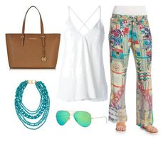 """Outfit para paseo en día soleado! Playa, crucero, piscina..."" by hpaolah on Polyvore featuring moda, Dondup, Johnny Was Collection, Michael Kors, Kenneth Jay Lane y Ray-Ban"
