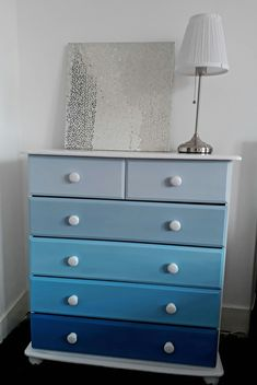Painted furniture Chest of drawers painted in shades of blue and white. Chest Of Drawers Decor, Chest Of Drawers Makeover, Diy Drawers, Painted Drawers, Painted Chest, Painted Sideboard, Distressed Furniture, Upcycled Furniture, Painted Furniture