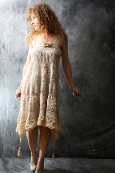 Made To Order Romantic Beach Wedding Vintage Crochet Daisy Doily Lace Dress with Tassels Upcycled Reconstructed Handmade OOAK. $135.00, via Etsy.