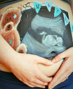 belly painting by caroline dagenais ultrasound and teddy bear Belly Painting, Ultrasound, Animal Paintings, Arts, Oeuvre D'art, Teddy Bear, T Shirts For Women, Baby, Animals