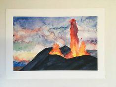 Volcano Painting Small Nature Watercolor Art Print 5x7