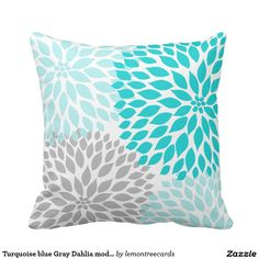 Turquoise blue Gray Dahlia mod decor sofa pillow