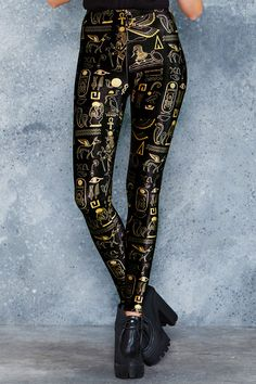 Hieroglyphics Gold High Waisted Velvet Leggings - 48HR ($75AUD) by BlackMilk Clothing
