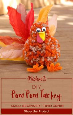 Have you ever seen a cuter pom pom? You will when you MAKE one of your very own! Add this #DIY to your #Thanksgiving home decor with an adorable pom pom turkey. Find the complete how-to and shop the project list on Micheals.com.