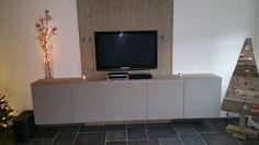 Tv meubel steigerhout besta kastjes ikea en deurtjes. Zelf ontworpen.  Blij mee