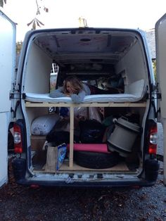We had just bought this mattress and as you can see, the van is full of our crap.