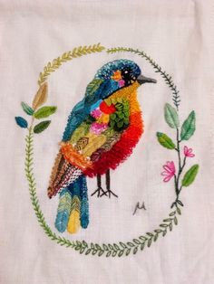 hand stitched bird, stitching on fabric, sew, hand stitch, embroidery. D o k n o m m e a w - p l a y: Bird by Mew I'm excited to step out of my comfort zone and give this a try! Embroidered Bird, Bird Embroidery, Cross Stitch Embroidery, Embroidery Patterns, Art Du Fil, Bordados E Cia, Techniques Couture, Thread Art, Fabric Art