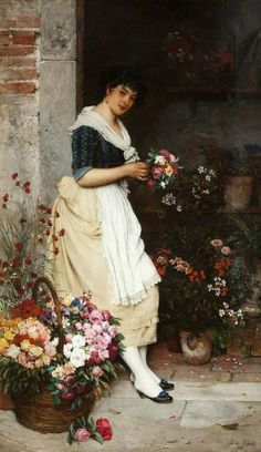The Italian Flower Girl, 1887, by Eugene de Blaas (Italian, 1843-1932)