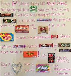 Sweet 16 Candy Board Gift Ideas For Girls