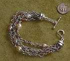 Michael Dawkins 925 Sterling Silver 4Strand Gemstone Bracelet Rondell Authentic