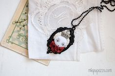 Black Queen Unusual Art Doll Necklace by miopupazzo on Etsy