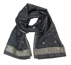 Sheer Black Silk Sari Scarf with Silver Metallic Embroidery - perfect prom or party cover-up