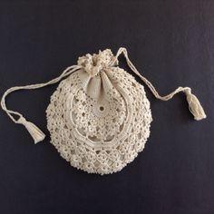 Crochet Fabric Purse Cotton Drawstring Round by NanAndPopsAttic