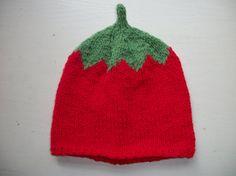 Hand Knitted Hat Baby Tomato Hat 36 612 by thekittensmittensuk, $14.00