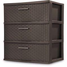 Sterilite Dresser Storage 3 Drawer Box Cabinet Plastic Cart Clothes Organizer