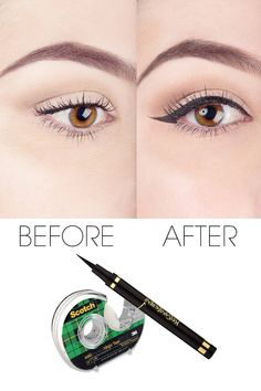 Amazing - just amazing! Everyone should see this! #Howto get the PERFECT eyeliner using #scotchtape  #nicebeautycom #elle #makeup #tutorial