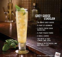 Fridays NEW Grey Goose Cooler – Grey Goose Vodka, St-Germain elderflower liqueur, peach purée, basil and lime. In a word, cool.
