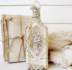 Altered Bottle with Lace