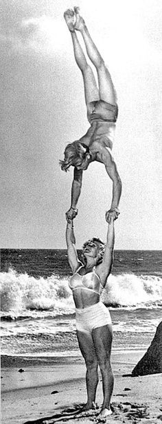 """Soon after their marriage, Les, their friend Bruce Connor, and Abbye formed a hand-balancing act, which toured the Los Angeles area performing in various events. At just 5'2 and 115 pounds, Abbye routinely held her 185-pound husband straight above her head in an adjoining handstand for long periods."""