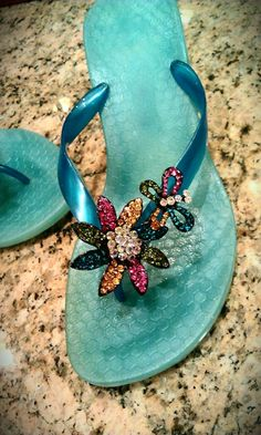 Get Ready for Some Bling: 38 Pairs of Jeweled Flip Flops to Wear All Summer Long . Flip Flop Sandals, Flip Flops, Glass Slipper, Kinds Of Shoes, Tiffany Blue, Flipping, Me Too Shoes, Fashion Shoes, Shoe Boots