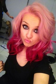 Charming Style For Girls Hair Designs With Some Inspiring Samples : Perrie Edwards With Pink Hair And Using Medium Hot Iron For The Wavy Impression And Using Faded Pink For The Modern Impression