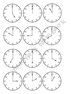telling time to the hour: digital and analogue matching