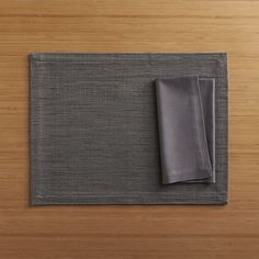Grasscloth Graphite Placemat and Fete Pewter Cotton Napkin  | Crate and Barrel