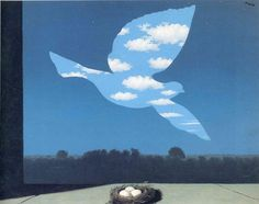 René Magritte : sa peinture a définitivement renversé l'illusion de la représentation. La poésie qui nait du choc de la rencontre entre les mots et les images nous fait voir la réalité autre ou l'autre réalité.