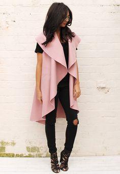Premium Felt Waterfall Drape Sleeveless Flo Throw On Coat in Dusky Pink  I absolutely need this coat