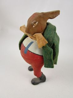 ADORABLE OLD VINTAGE GERMAN PAPER MACHE FELT RABBIT IN JACKET CANDY CONTAINER
