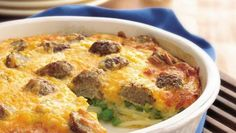 Preparing casseroles like this one is impossibly quick and easy, not to mention delicious, when you stock items like frozen meatballs.