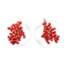 """Maria Sole """"Heart"""" earrings Earrings mounted in silver white agate and coral mounted dough entirely by hand piece. #earrings #mariasole #fashion #design #unique #style #handmade #luxmadein #handmadejewelery #madeinitaly #italianstyle #earring #fashionista #outfit #accessories #ring #necklace #pendant"""