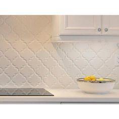 Arabesque Lantern White Porcelain Mosaic - 10 x 11 - 100053248 Arabesque Tile Backsplash, Backsplash Kitchen White Cabinets, Kitchen Backsplash, Backsplash Ideas, Home Decor Kitchen, Kitchen Interior, Home Kitchens, Kitchen Design, Floor Decor