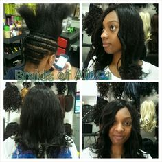 Full head weave in hair extensions this application has no glue created by braids of africa full head weave on human hair extensions with side bangs pmusecretfo Gallery