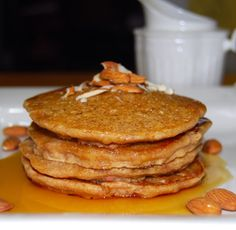 Almond Pancakes: Countdown to Valentine's Day - Holy Cow! Vegan Recipes. My Multigrain Almond Pancakes are made with three different kinds of flours– barley, spelt, and whole-wheat– but you could easily substitute with other flours like oat flour or even a gluten-free baking mix. But here's what makes them really special: I add to them some almond paste, almond milk, and a few chopped almonds, ingredients that make them tender, nutty, extra-flavorful, and healthy, of course.