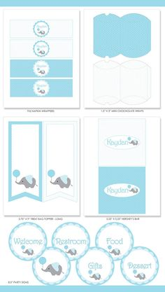 Baby Shower Party Printable Elephant with Blue Polka-Dot