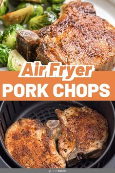 How to cook easy boneless or bone in air fryer pork chops! Quick and tasty, make. - How to cook easy boneless or bone in air fryer pork chops! Quick and tasty, makes really juicy air - Air Fryer Recipes Breakfast, Air Fryer Dinner Recipes, Air Fryer Oven Recipes, Air Fryer Recipes For Pork Chops, Cooking Pork Chops, Air Fry Pork Chops, Juicy Pork Chops, Air Fried Pork Chops Recipe, Fried Boneless Pork Chops