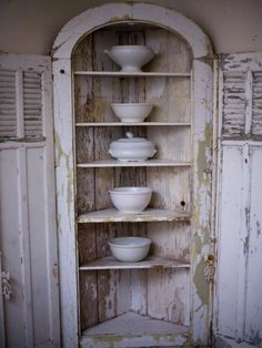 Corner Cupboard with White ironstone & old wood....love