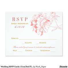 Wedding RSVP Cards | Coral Red Floral Peony