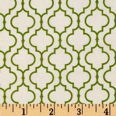 Designed for Robert Kaufman Fine Fabrics, colors include leaf green and ivory. Use for quilting, crafts, apparel and home décor accents.