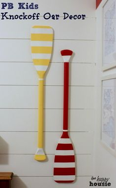 Pottery-Barn-Kids-Knockoff-Oar-Decor-on-wall-at-the-happy-housie-634x1024