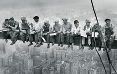 Famous photo of construction workers during the construction of Rockefeller Center in 1932.